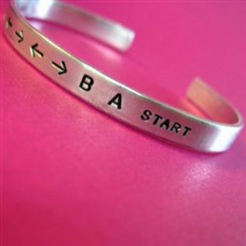Contra Code Cuff Bracelet - up up down down left right left right b a start - Spiffing Jewelry