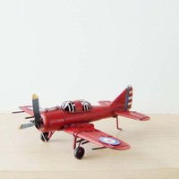 Red bomber plane miniature, vintage, retro collectibe metal aeroplane replica in deep red, movable parts, red fighter plane, early nineties