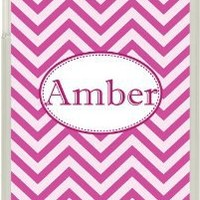 Monogrammed Multi Pink Chevron Design on iPad Mini Frosted Clear Case Cover