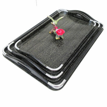 Mid Century Trays / Nesting Wood Trays, Wooden Tray with Handles / Nasco Japan,  Set of 3 – Black Silver