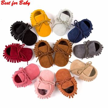 2016 new Spring Autumn brand Romirus lace-up Pu leather Baby Moccasins shoes infant suede boots first walkers Newborn baby shoes