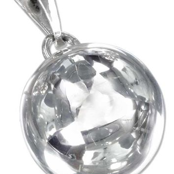 Sterling Silver Charm:  Large 20mm High Polish Round Chime Ball Pendant