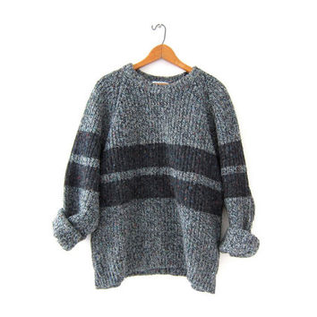 vintage gray speckled sweater. loose knit chunky sweater. oversized sweater. boyfriend pullover.