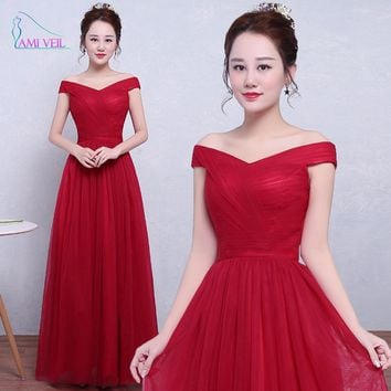 Elegant Burgundy Red Long Tulle Pleat Evening Dresses vestido longo festa Women dresses Formal Gowns Prom Dresses soiree GF56
