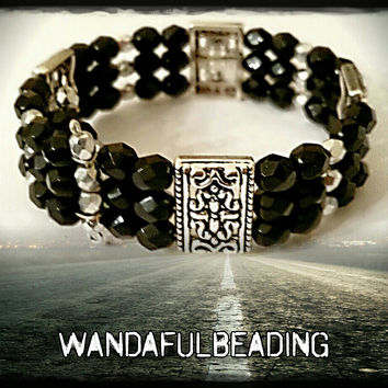 Tibetan Style Black and Silver 3 Strand Beaded Memory Wire Bracelet size 7 to 8 inches - $10.00 - Handmade Jewelry, Crafts and Unique Gifts by WandaFulBeading