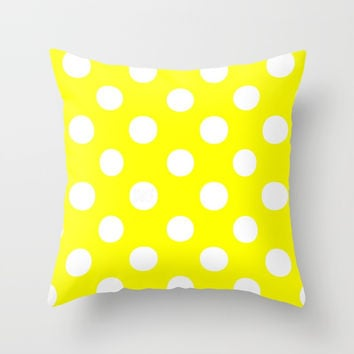 Polka Dots (White/Yellow) Throw Pillow by 10813 Apparel
