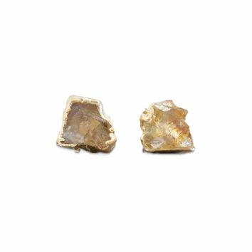 Raw Citrine 14K Gold Studs