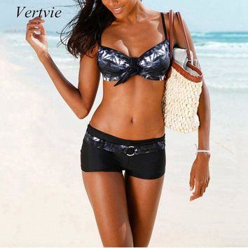 Vertvie Printed Bikinis Set Boxer Shorts Bowknot Swimsuit Swimwear For Women Brazilian Biquini Female Beach Wear Bathing Suit