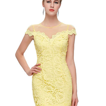 Women Yellow Lace Dress 2017 Summer style Elegant Cap Sleeve Bodycon Vestidos Ladies Slim Prom Party Sexy Club Mini Dresses