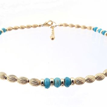 14k GF Turquoise Gemstone Beaded Anklets, December Birthstone Crystal Healing Ankle Bracelets