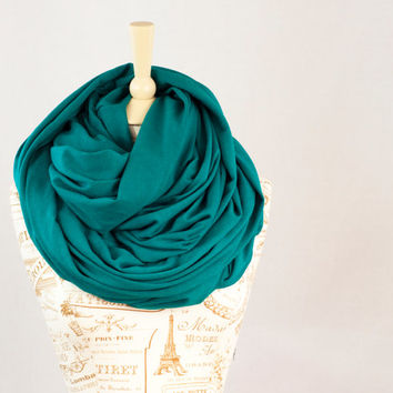 Large Chunky Infinity Scarf, Hooded Teal Circle Cowl Scarf, Blue Green Scarf, Extra Large Jersey Circle Shawl Scarf, Large Scarves