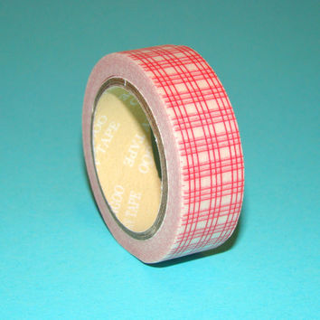 Washi Tape Roll Red & White Grid Stationery Scrapbooking Smash Book Sticker 15mm x 10m