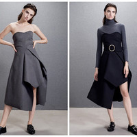 Strapless Dress,Off Shoulder Dress,party dress,Black Dress,gray dress,slit derss,asymmetrical dress,high fashion dress,winter dress.--E0665