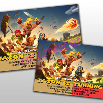 Clash Of Clans Birthday Invitation And Thank You Card