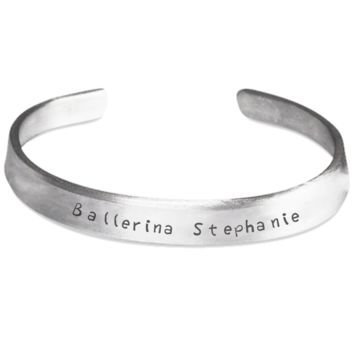 Ballerina Bracelet for Girls: Personalized Girl Jewelry - Cute Gift For Kids - Inspirational Silver Bracelet for Dancing Fans - Christmas Dance Jewelry & Holiday Gift - Beautiful Name Personalisation Customization Silver Bracelet