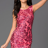 Short Sleeveless Sequin Print Party Dress
