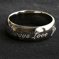 6 mm BLACK GOLD Round Ring Personalized Ring .925 Sterling Silver Engraved Ring Custom Ring