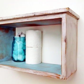 Bathroom Decor Shabby Chic Bathroom Wall Shelf Antique White Turquoise French Country