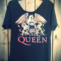 Distressed off the shoulder Queen shirt size large