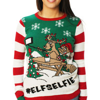 Ugly Christmas Sweater Women's Elf Selfie Pullover Sweater
