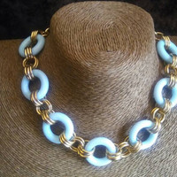 Light Blue Circle Necklace - Vintage Chunky Wide Jewelry - 1980's 1990's Jewelry