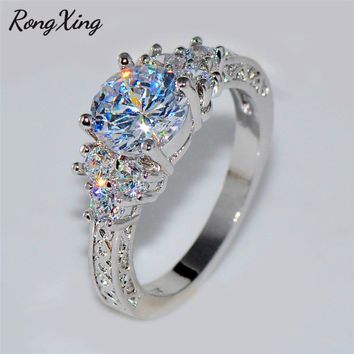 RongXing White/Black/Yellow/Rose Gold Filled Round Zircon/Opal Rings For Women Hot Sale Style Retro Promise Wedding Bands Gifts
