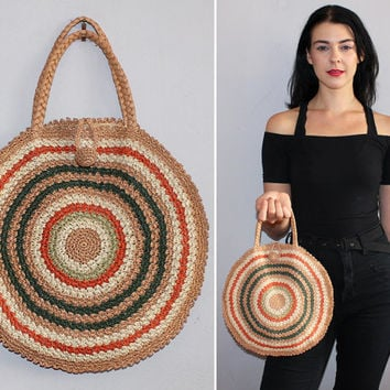 Vintage 70s Round Purse / Jute Sisal Handbag / Small Beach Bag / Boho Bag / Sand, Olive, Burnt Orange Circle Stripes / Top Handle, Braided