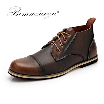 Autumn Winter Handmade Genuine leather Men Boots Winter Shoes Lace Up Ankle Boots For Men