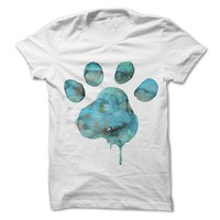 Blue Watercolor Paw