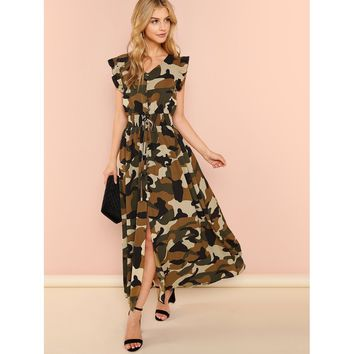 Multicolor Ruffle Armhole Shirred Waist Split Camo Dress