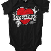 "Infant's ""Mom And Dad Heart Tattoo"" Onesuit by Cartel Ink (Black)"