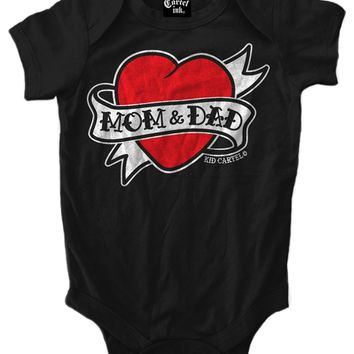 """Infant's """"Mom And Dad Heart Tattoo"""" Onesuit by Cartel Ink (Black)"""