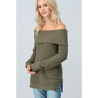 Off Shoulder Cable Knit Sweater - Olive