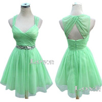 Custom Made A- line Grass green Tulle Short Prom Dresses,Bridesmaid Dresses,Cheap Prom Dress 2014, Dress For Prom, Formal Dresses