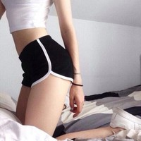 Fashion Black Sport Gym Running Cotton Shorts