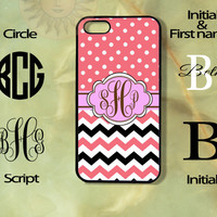 Monogram Pink and Black Polka Dots Chevron Apple iPhone 5, 5s, 5c, 4s, 4 case, Ipod touch 4,5, Samsung Galaxy 3, 4, 5 case