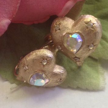 CORO Heart  Earrings Clip ons Brushed Gold Tone Rhinestones Aurora Borealis Small Romantic Bridal Wedding Mother's Prom Collectible Gift