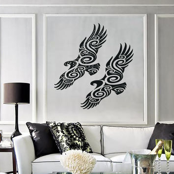 Vinyl Decal Pair of Birds Abstract Beautiful Image Wall Sticker Unique Gift (n494)