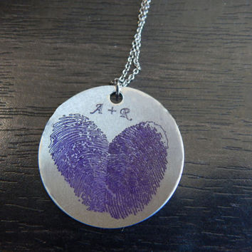 Purple Personalized Custom Engraved Fingerprint Heart Pendant Necklace, Great Birthday Gift, Chirstmas Gift, Memorial Necklace