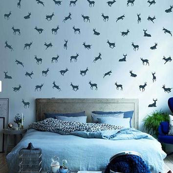 kik3022 Wall Decal Sticker Set of 70 Running deer 4 x 5 Polka Dot Wall Decor Sticker Decal Any Room