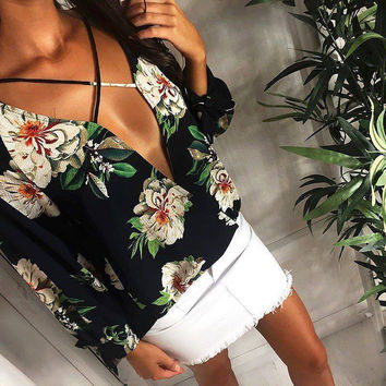 Print Chiffon V-neck Women's Fashion Tops [11179054479]