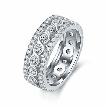 Twist Crystal White Gold Plated Ring