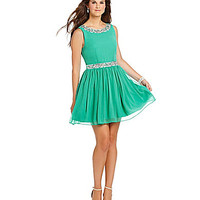 Jodi Kristopher Bead Neck and Waist Party Dress