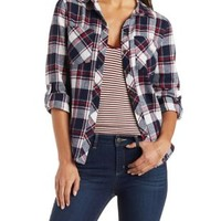 Plaid Button-Up Flannel Shirt by Charlotte Russe