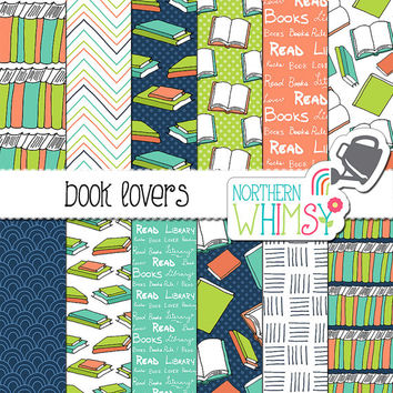 "Book Digital Paper - ""Book Lovers"" - school scrapbook paper - book seamless patterns in navy coral, lime & aqua - printable - commercial use"