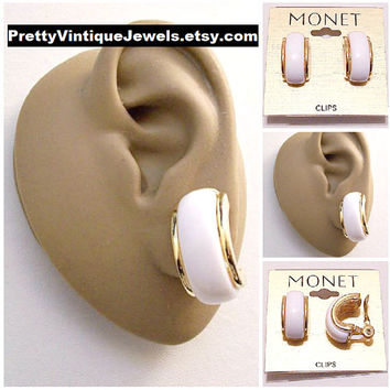 Monet White Band Half Hoop Clip On Earrings Gold Tone Vintage Large Curved Raised Edge Rimmed Thick Lucite Center