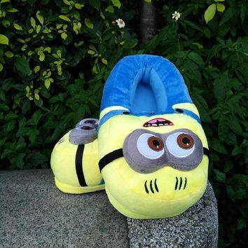 3D Winter Warm slippers Despicable Me Minion Stewart Figure Shoes Plush Toy Home Slipp