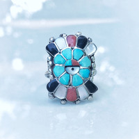 Vintage Native American Handmade Ring, Sterling Silver Zuni Headdress Ring, Blue Turquoise, Coral, Onyx, Mother of Pearl
