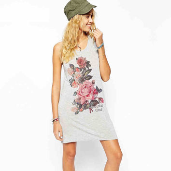 Grey Floral Print Sleeveless Shirt Dress