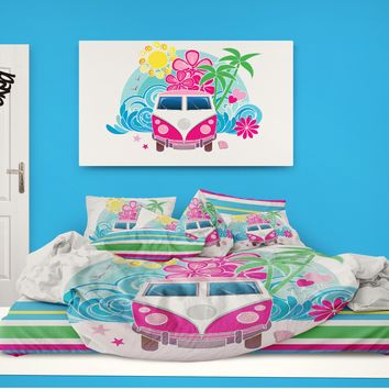 Surf Bus on the Beach Comforter from Surfer Bedding
